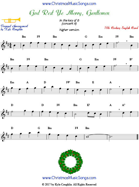 Higher version of God Rest Ye Merry, Gentlemen trumpet sheet music, arranged to play along with other wind, brass, and string instruments.