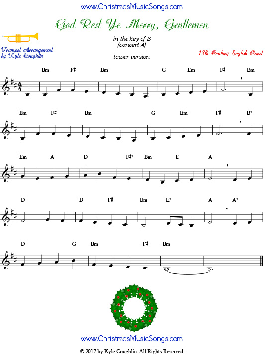Lower version of God Rest Ye Merry, Gentlemen trumpet sheet music, arranged to play along with other wind, brass, and strings.