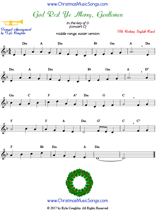 Middle version of God Rest Ye Merry, Gentlemen trumpet sheet music.