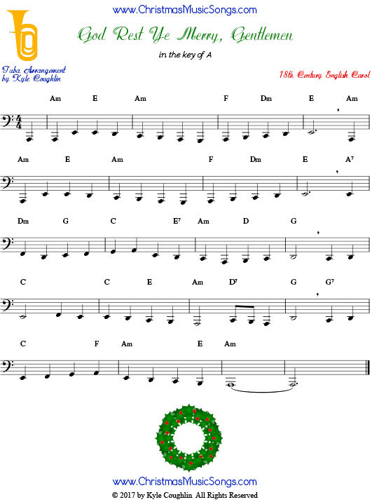 God Rest Ye Merry, Gentlemen tuba sheet music, arranged to play along with other wind, brass, and string instruments.
