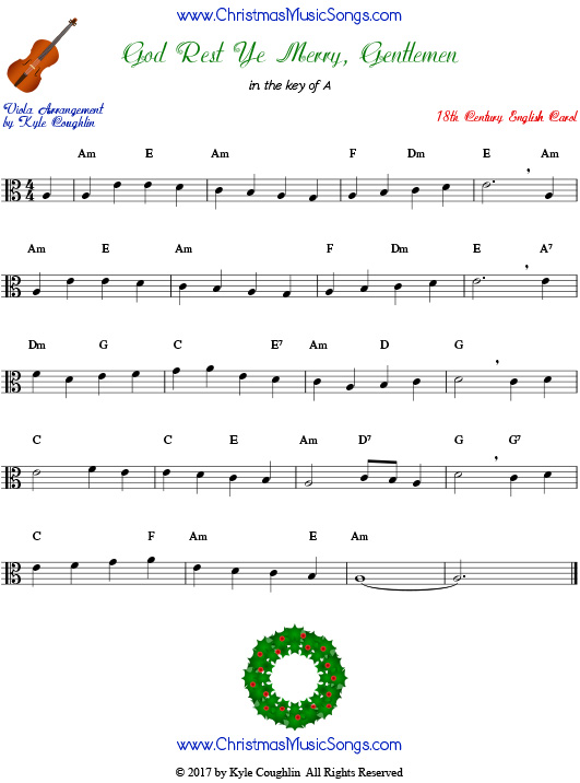 God Rest Ye Merry, Gentlemen for viola, arranged to play along with strings, woodwinds, and brass.