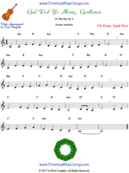 God Rest Ye Merry, Gentlemen for violin in a lower range, arranged to play along with strings, woodwinds, and brass.