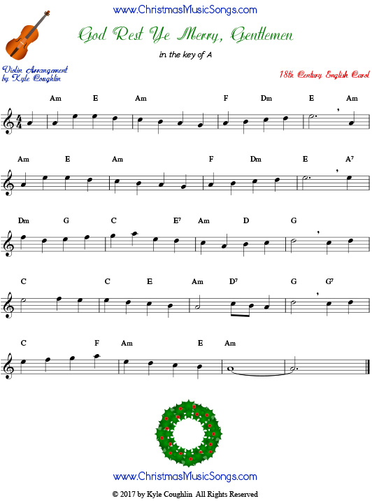 God Rest Ye Merry, Gentlemen for violin, arranged to play along with strings, woodwinds, and brass.
