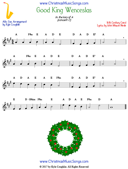 Good King Wenceslas alto saxophone sheet music, arranged to play along with other wind, brass, and string instruments.
