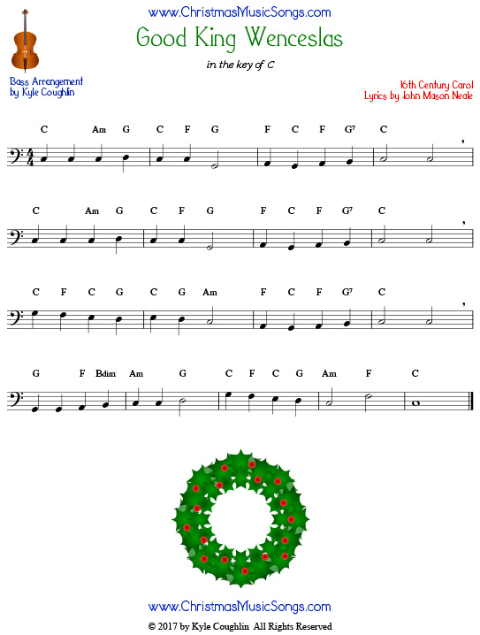 Good King Wenceslas for bass, arranged to play along with strings, woodwinds, and brass.