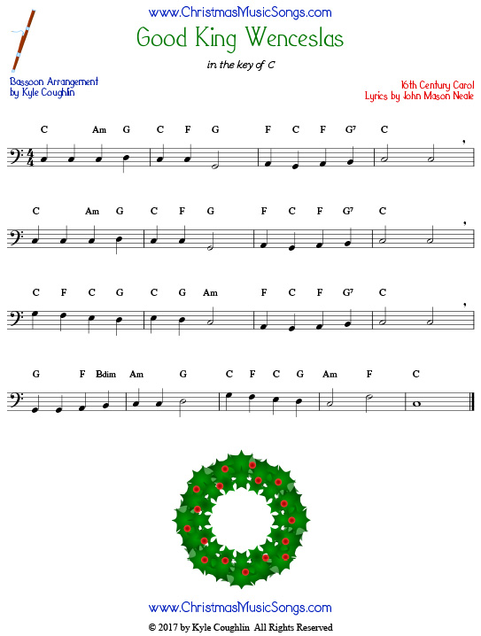 Good King Wenceslas bassoon sheet music, arranged to play along with other wind, brass, and string instruments.