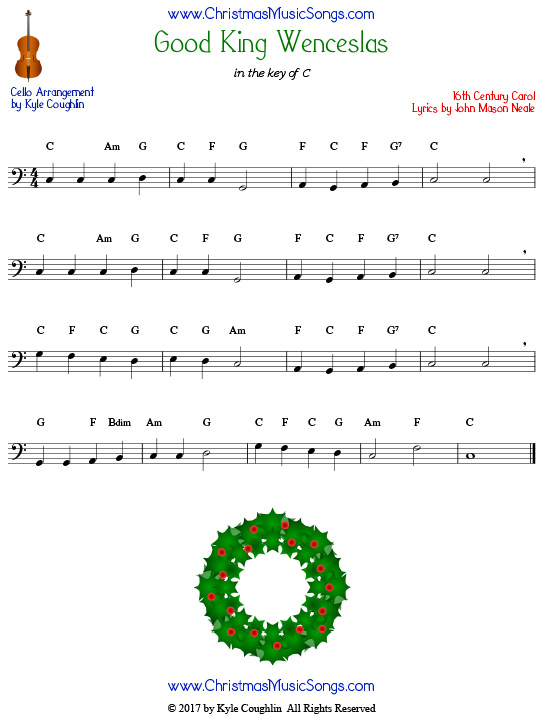 Good King Wenceslas for cello, arranged to play along with strings, woodwinds, and brass.