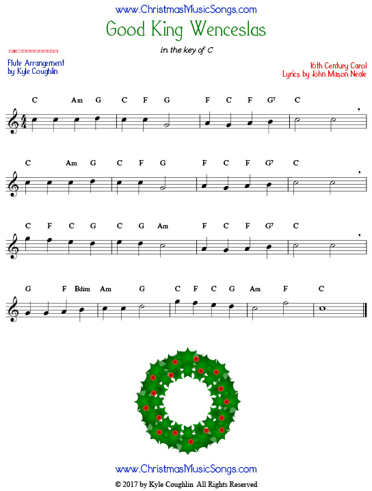 Good King Wenceslas flute sheet music, arranged to play along with other wind, brass, and string instruments.