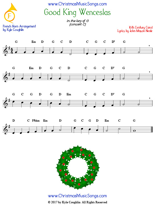 Good King Wenceslas French horn sheet music, arranged to play along with other wind, brass, and string instruments.
