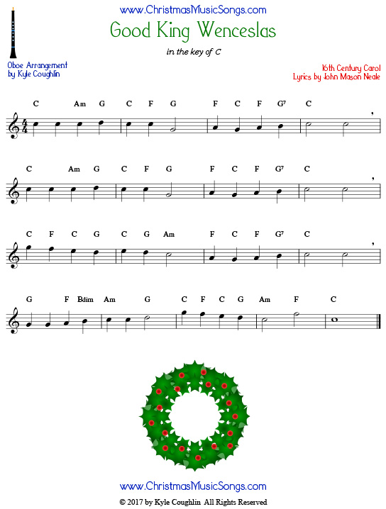 Good King Wenceslas oboe sheet music, arranged to play along with other wind, brass, and string instruments.