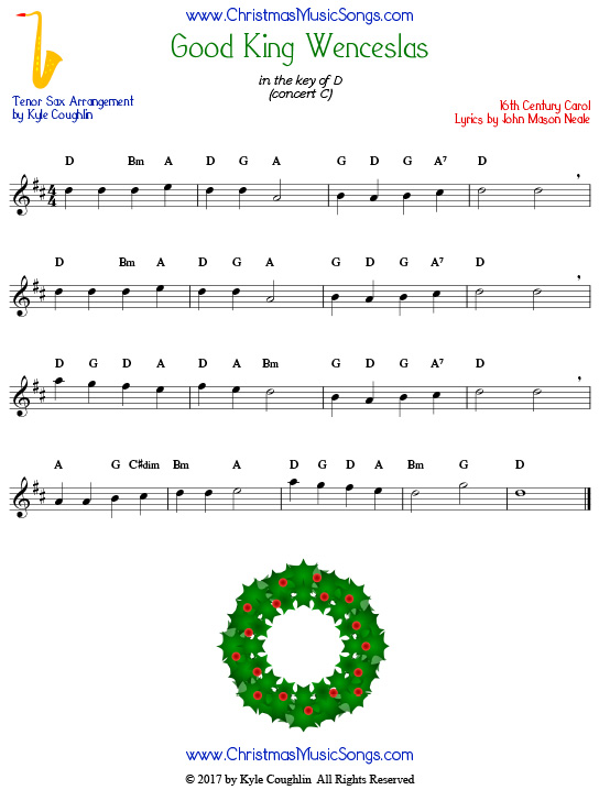 Good King Wenceslas tenor saxophone sheet music, arranged to play along with other wind, brass, and string instruments.