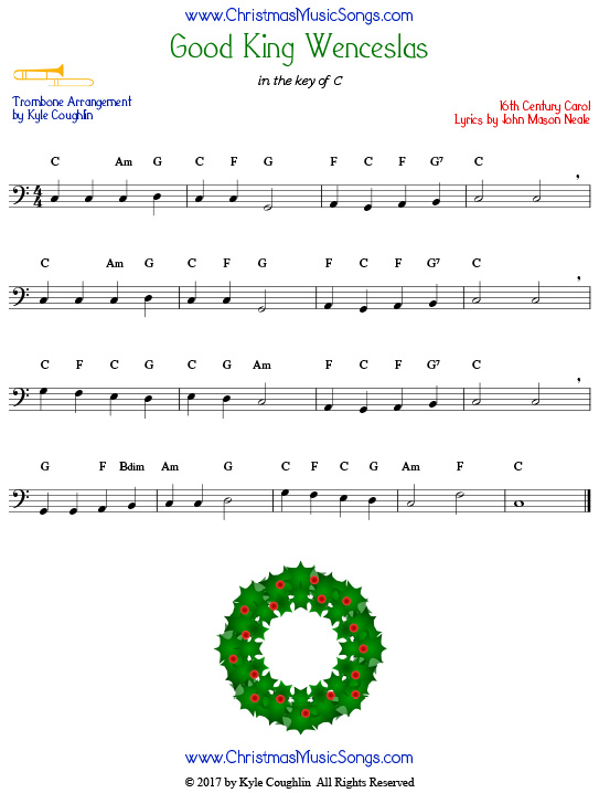 Good King Wenceslas trombone sheet music, arranged to play along with other wind, brass, and string instruments.