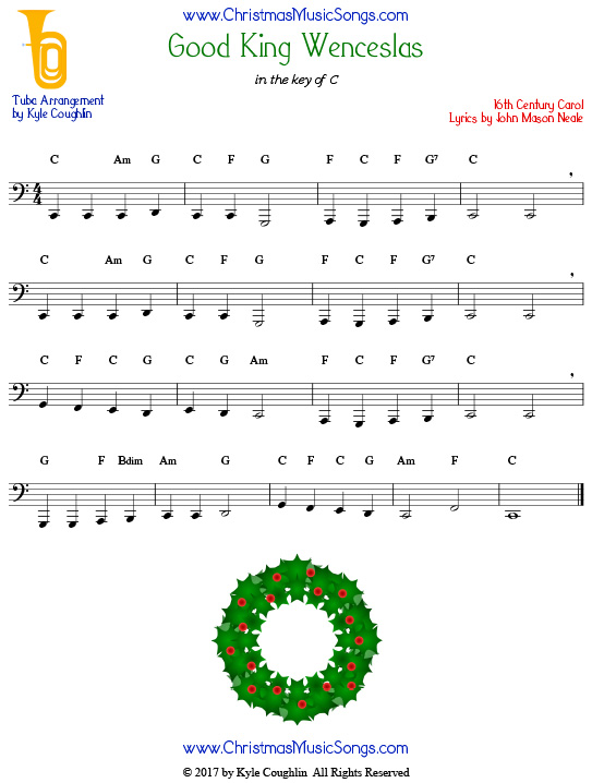 Good King Wenceslas tuba sheet music, arranged to play along with other wind, brass, and string instruments.
