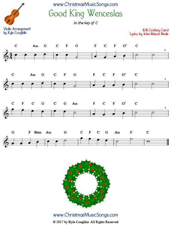Good King Wenceslas for violin, arranged to play along with strings, woodwinds, and brass.