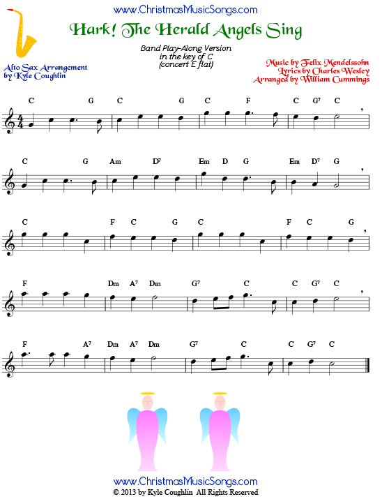 photograph about Free Printable Alto Saxophone Sheet Music titled Hark! The Herald Angels Sing for Alto Saxophone - Absolutely free Sheet