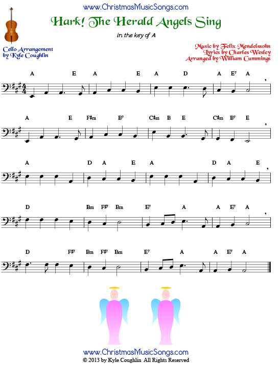 Hark! the Herald Angels Sing for cello - free sheet music