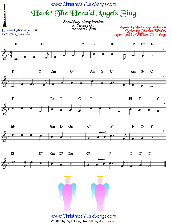 Hark! the Herald Angels Sing for clarinet - free sheet music