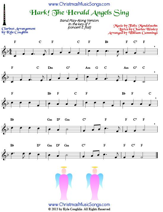 Clarinet Sheet Music Christmas.Hark The Herald Angels Sing For Clarinet Free Sheet Music