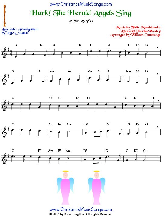 Hark! the Herald Angels Sing for recorder - free sheet music