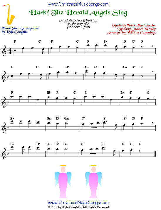 Hark! the Herald Angels Sing for tenor saxophone - free sheet music