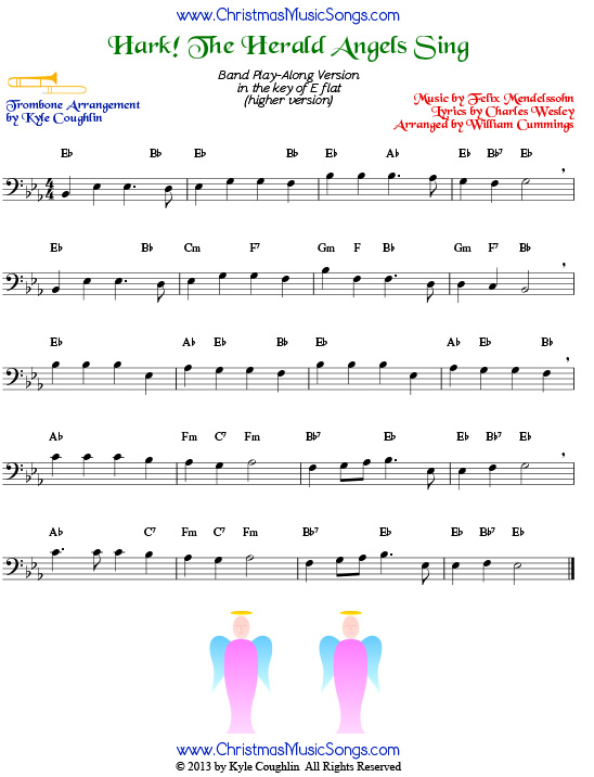 picture regarding Free Printable Trombone Sheet Music known as Hark! the Herald Angels Sing for trombone - no cost sheet tunes