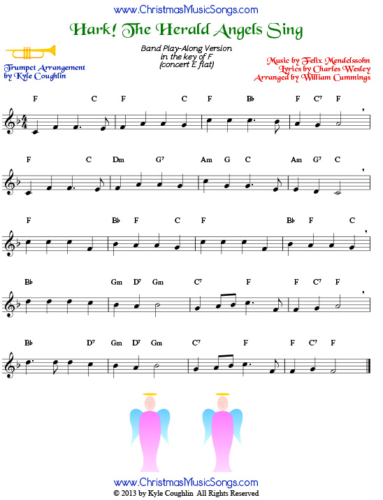Hark! the Herald Angels Sing for trumpet - free sheet music