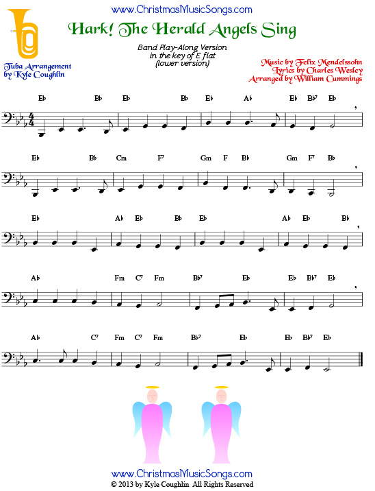 The Christmas carol Hark! The Herald Angels Sing, arranged for tuba to play along with other wind and brass instruments.