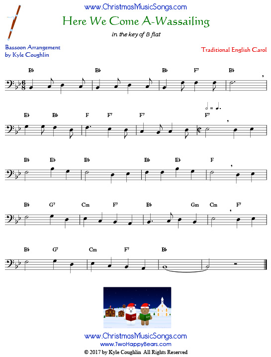 Here We Come A-Wassailing bassoon sheet music, arranged to play along with other wind and brass instruments.