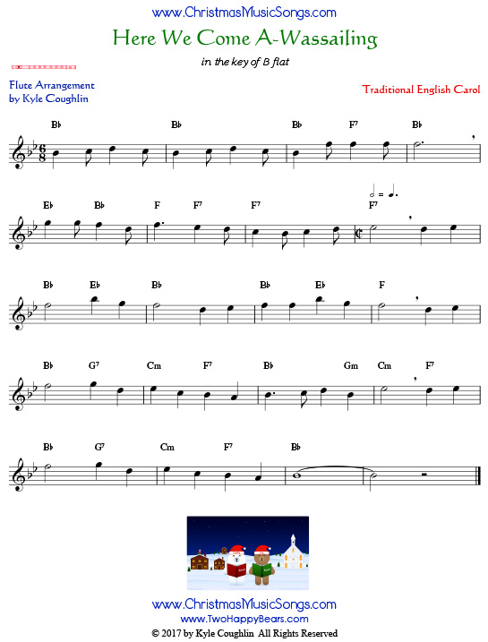 Here We Come A-Wassailing flute sheet music, arranged to play along with other wind and brass instruments.