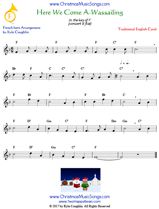 Here We Come A-Wassailing French horn sheet music, arranged to play along with other wind and brass instruments.