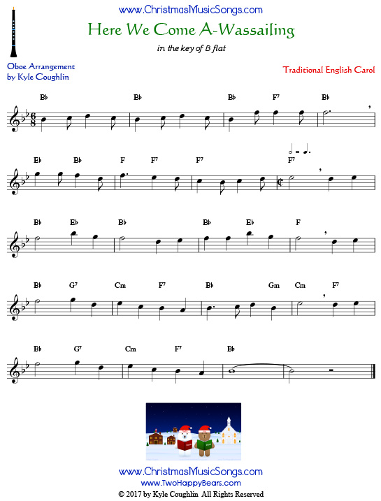 Here We Come A-Wassailing oboe sheet music, arranged to play along with other wind and brass instruments.