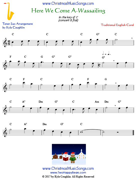 Here We Come A-Wassailing tenor saxophone sheet music, arranged to play along with other wind and brass instruments.