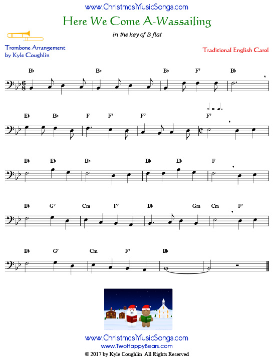 Here We Come A-Wassailing trombone sheet music, arranged to play along with other wind and brass instruments.