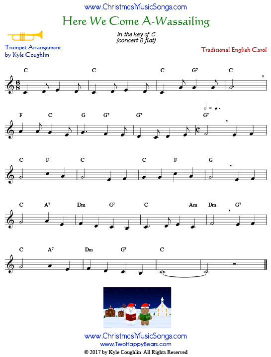 Here We Come A-Wassailing trumpet sheet music, arranged to play along with other wind and brass instruments.
