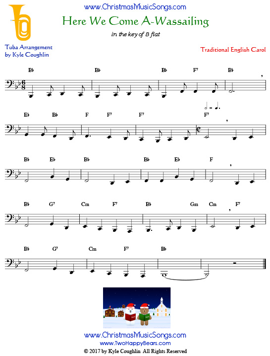 Here We Come A-Wassailing tuba sheet music, arranged to play along with other wind and brass instruments.