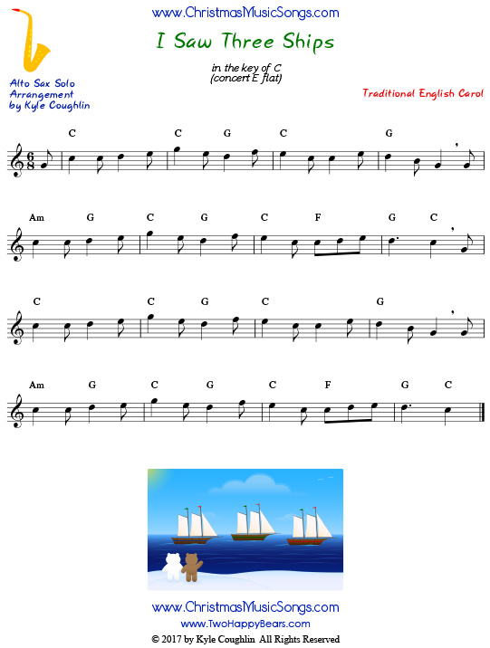 I Saw Three Ships alto saxophone sheet music solo.