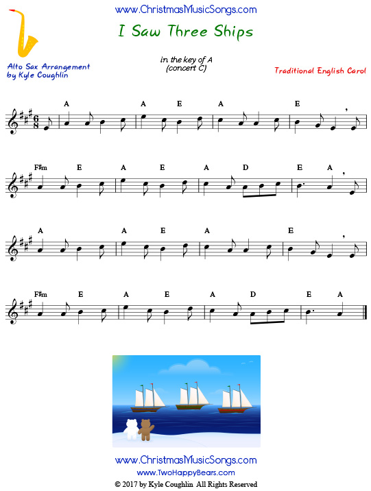 I Saw Three Ships alto saxophone sheet music, arranged to play along with other wind, brass, and string instruments.