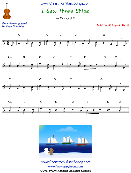 I Saw Three Ships for bass, arranged to play along with strings, woodwinds, and brass.