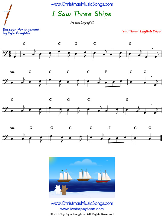 I Saw Three Ships bassoon sheet music, arranged to play along with other wind, brass, and string instruments.