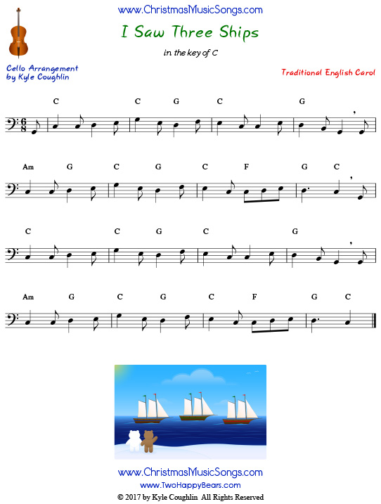I Saw Three Ships for cello, arranged to play along with strings, woodwinds, and brass.