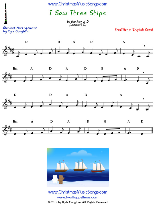 I Saw Three Ships clarinet sheet music, arranged to play along with other wind, brass, and string instruments.