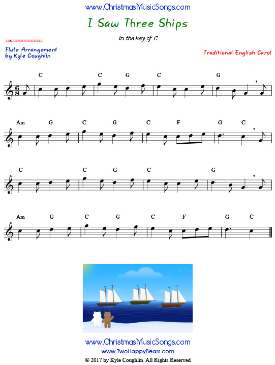 I Saw Three Ships flute sheet music, arranged to play along with other wind, brass, and string instruments.