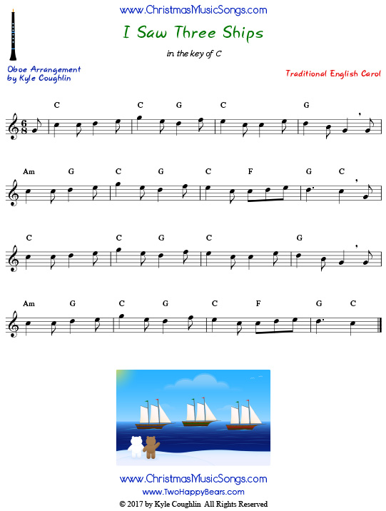 I Saw Three Ships oboe sheet music, arranged to play along with other wind, brass, and string instruments.
