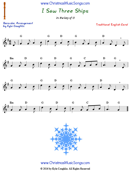 I Saw Three Ships for recorder - free sheet music