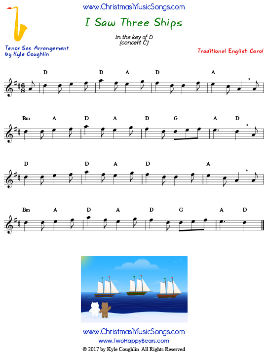 I Saw Three Ships tenor saxophone sheet music, arranged to play along with other wind, brass, and string instruments.
