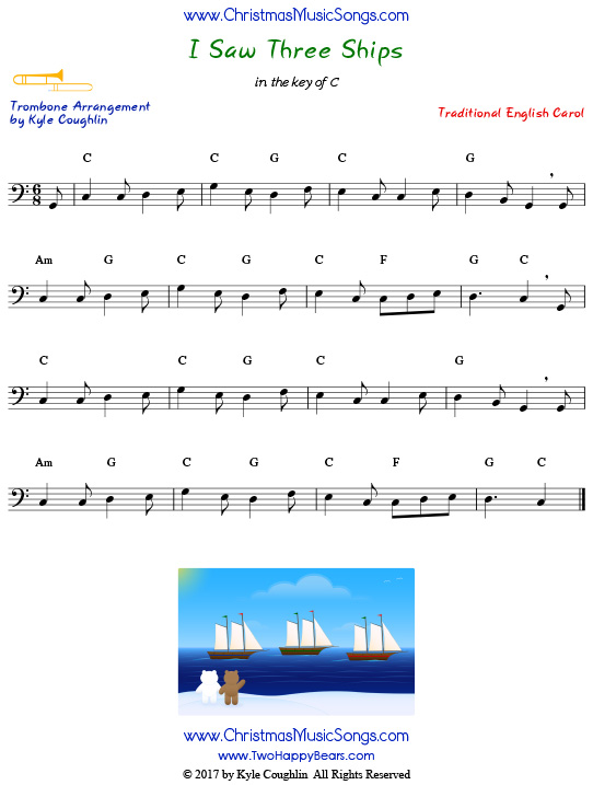 I Saw Three Ships trombone sheet music, arranged to play along with other wind, brass, and string instruments.