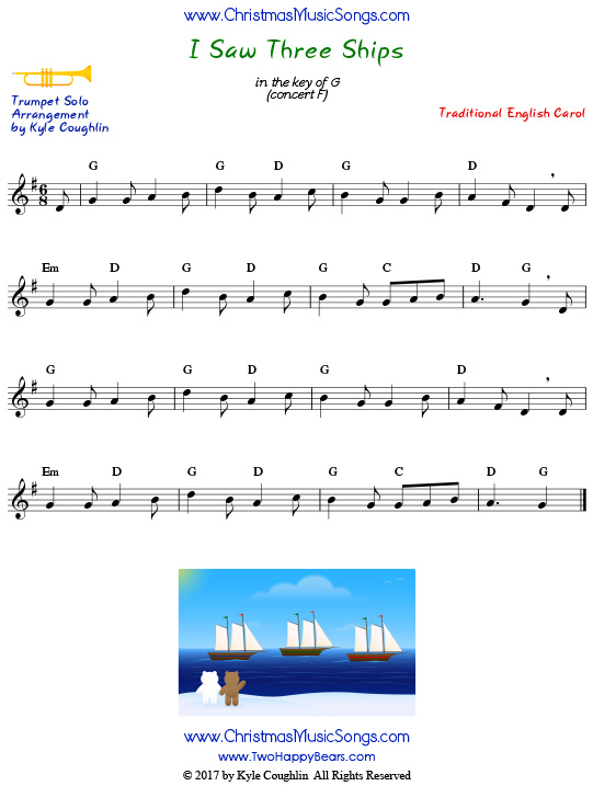 I Saw Three Ships trumpet sheet music solo.