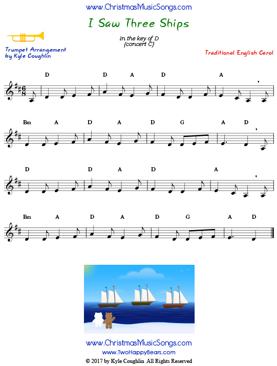 I Saw Three Ships trumpet sheet music, arranged to play along with other wind, brass, and string instruments.