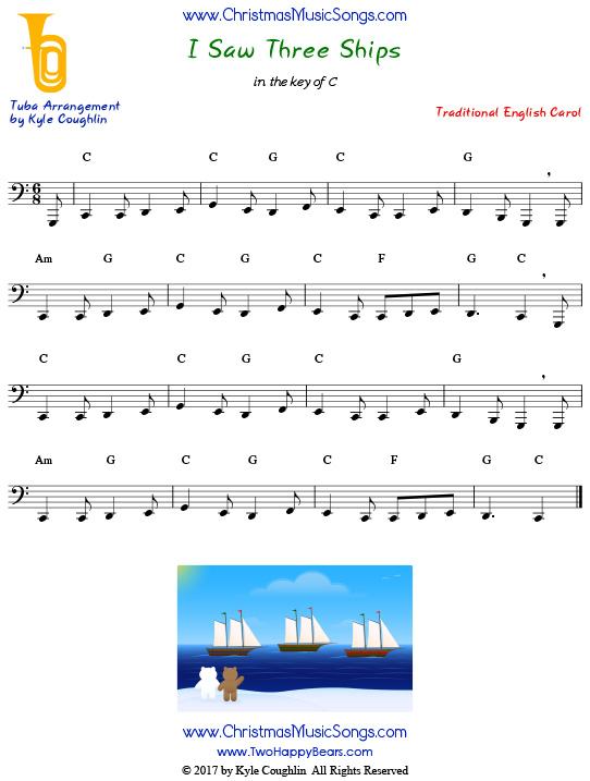 I Saw Three Ships tuba sheet music, arranged to play along with other wind, brass, and string instruments.
