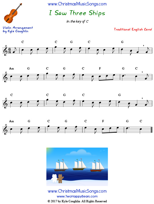 I Saw Three Ships for violin, arranged to play along with strings, woodwinds, and brass.
